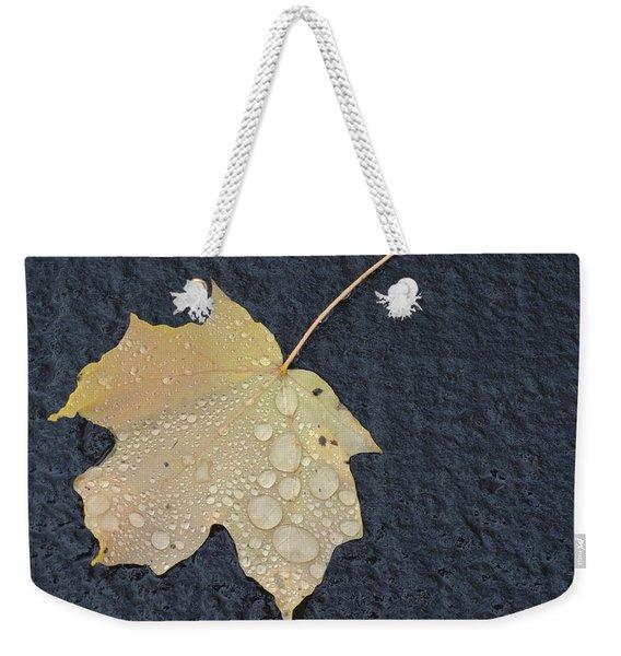 Rain Drops On A Yellow Maple Leaf Weekender Tote Bag