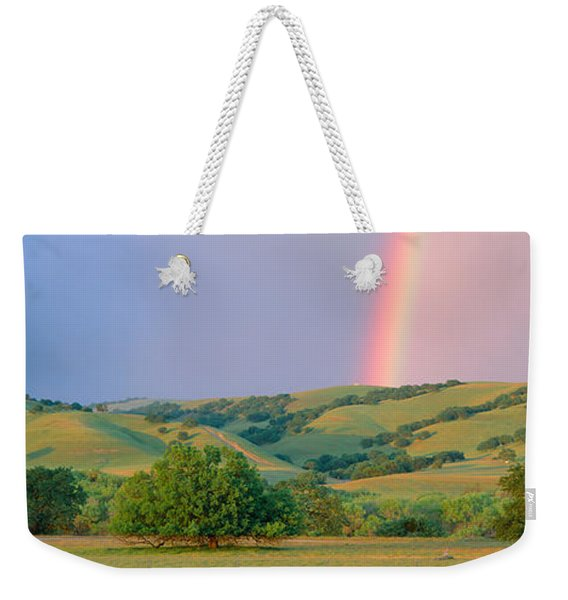 Rainbow And Rolling Hills In Central Weekender Tote Bag