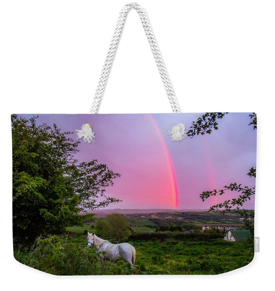 Rainbow At Sunset In County Clare Weekender Tote Bag