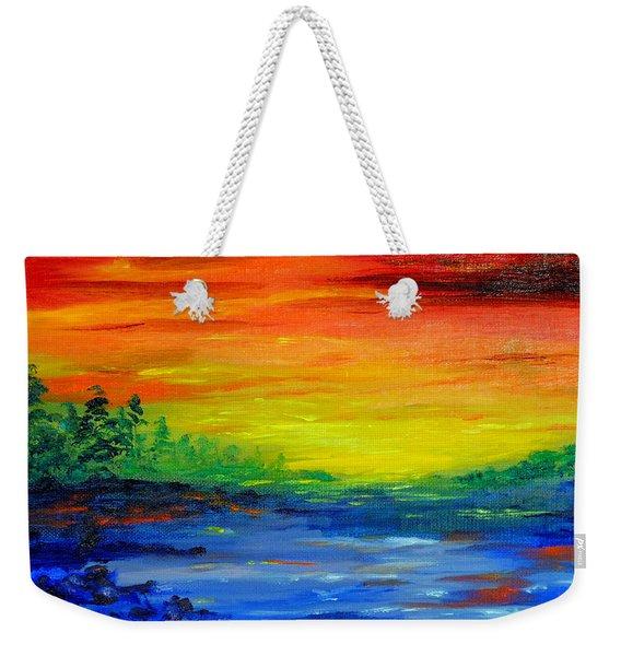 Rainbow Back Waters Weekender Tote Bag