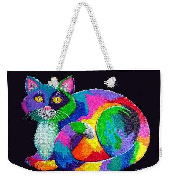 Rainbow Calico Weekender Tote Bag