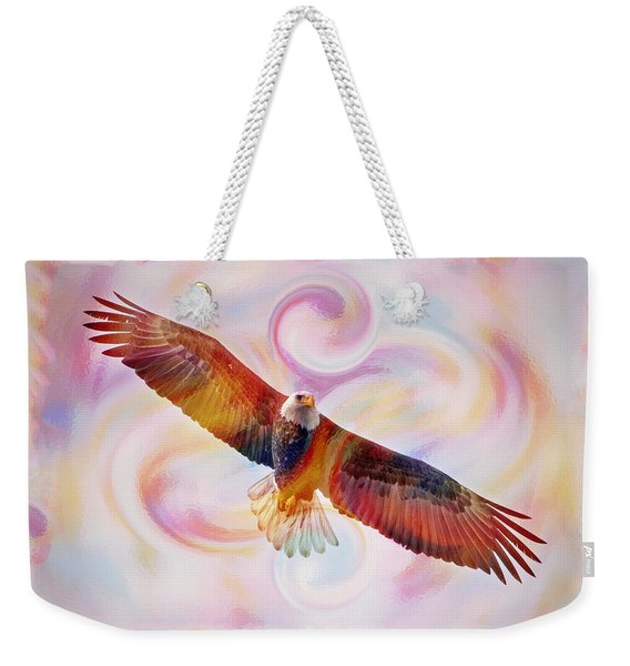 Rainbow Flying Eagle Watercolor Painting Weekender Tote Bag