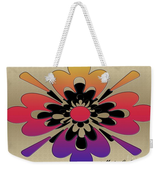 Rainbow On Gold Floral Design Weekender Tote Bag