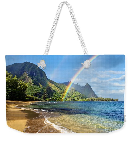 Rainbow Over Haena Beach Weekender Tote Bag