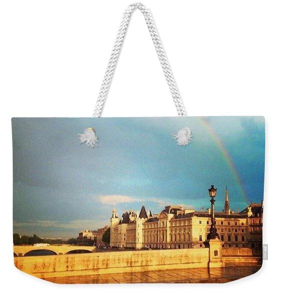 Rainbow Over The Seine. Weekender Tote Bag