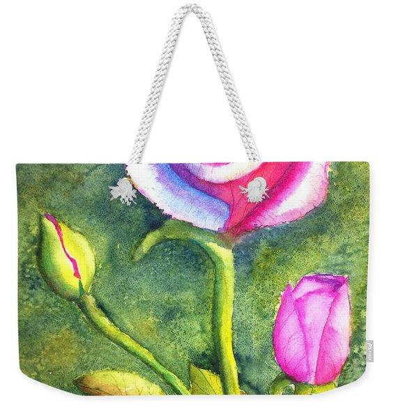 Rainbow Rose And Buds Weekender Tote Bag