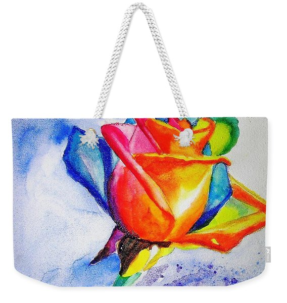 Rainbow Rose Weekender Tote Bag