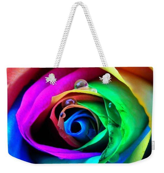 Rainbow Rose Weekender Tote Bag