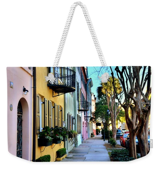 Rainbow Row Hdr Weekender Tote Bag