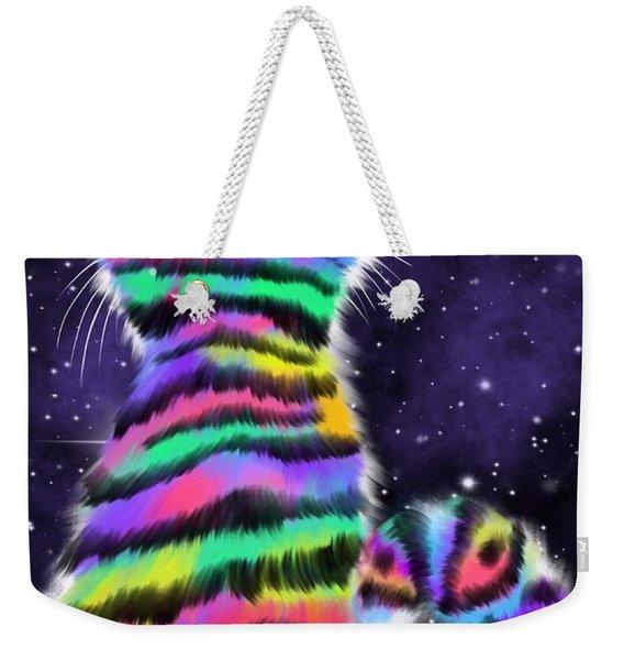 Rainbow Tiger Cat Weekender Tote Bag