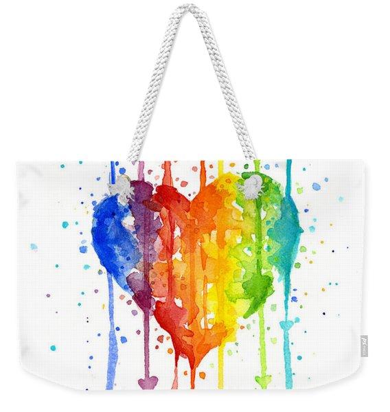 Rainbow Watercolor Heart Weekender Tote Bag