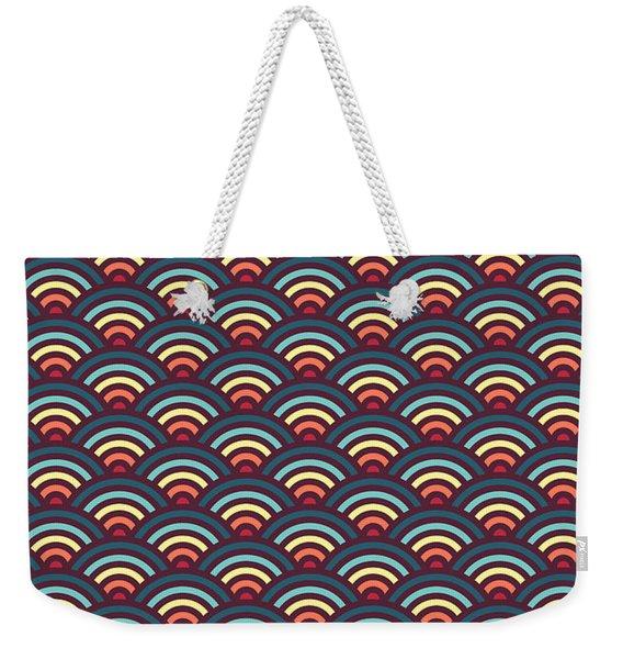 Rainbowaves Pattern Dark Weekender Tote Bag