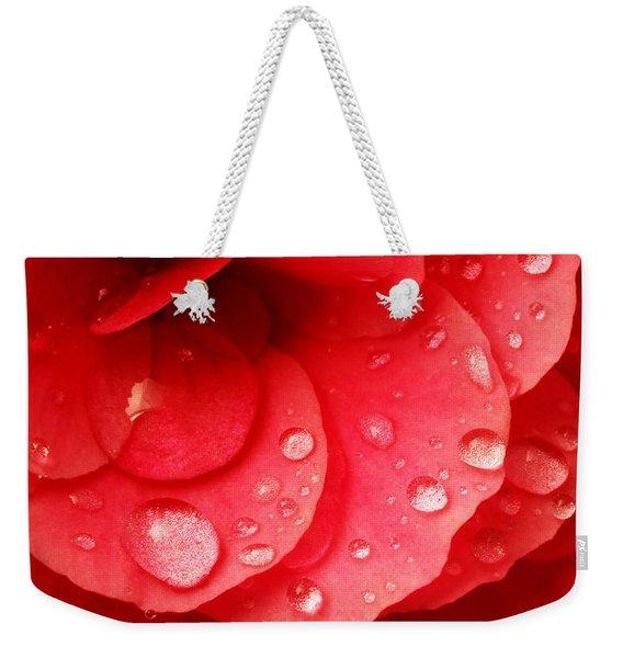 Raindrops On Red Begonia Weekender Tote Bag