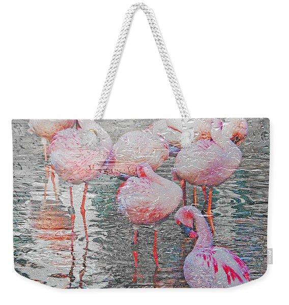 Rainy Day Flamingos Weekender Tote Bag