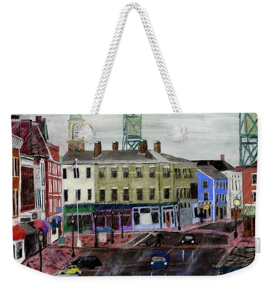 Rainy Day On Market Square Weekender Tote Bag