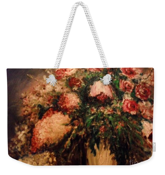Weekender Tote Bag featuring the painting Raspberry Jammies by Laurie Lundquist