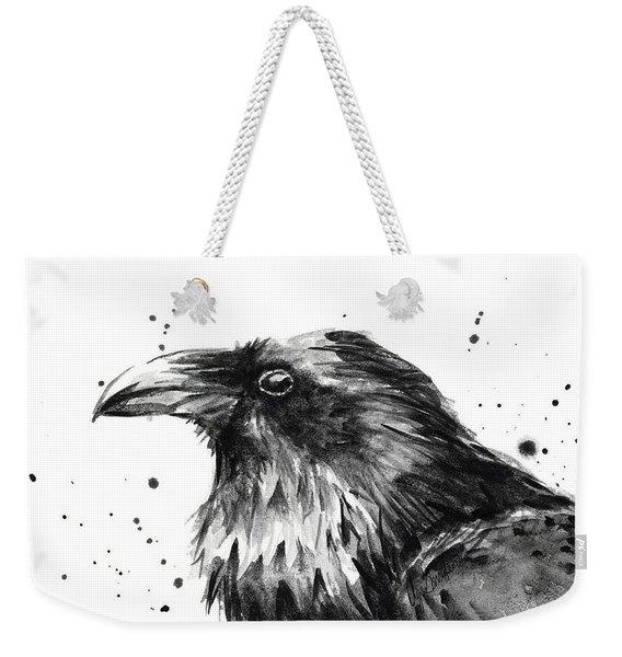 Raven Watercolor Portrait Weekender Tote Bag