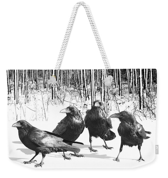 Ravens By The Edge Of The Woods In Winter Weekender Tote Bag