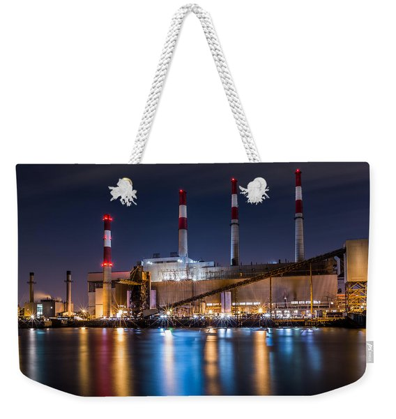 Weekender Tote Bag featuring the photograph Ravenswood Generating Station by Mihai Andritoiu
