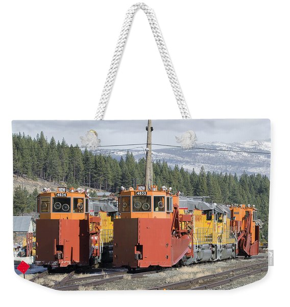 Weekender Tote Bag featuring the photograph Ready For More Snow At Donner Pass by Jim Thompson