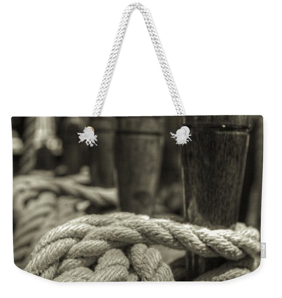 Ready For Work Black And White Sepia Weekender Tote Bag