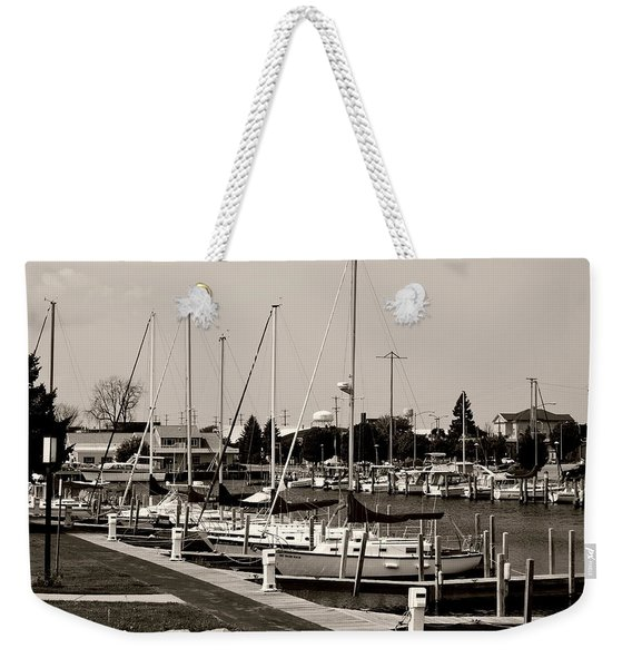 Ready To Sail In Black And White Weekender Tote Bag