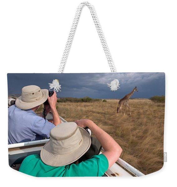 Rear View Of Two Safari Photographers Weekender Tote Bag