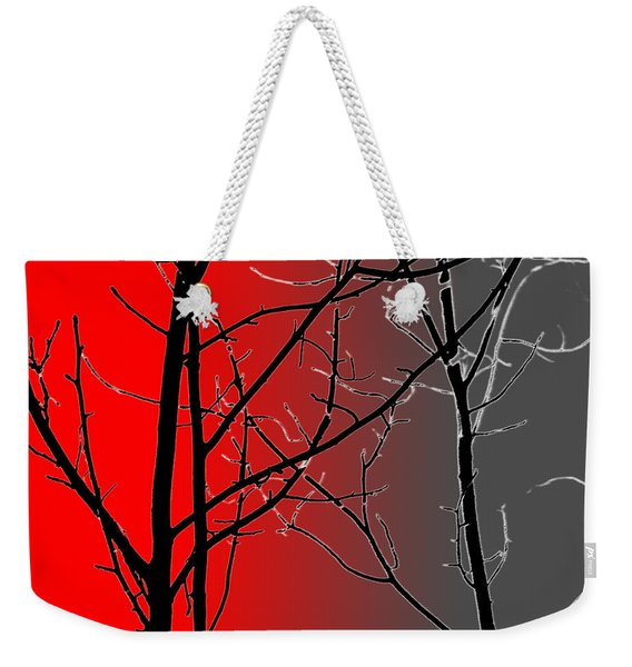 Red And Gray Weekender Tote Bag