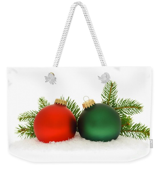 Red And Green Christmas Baubles Weekender Tote Bag