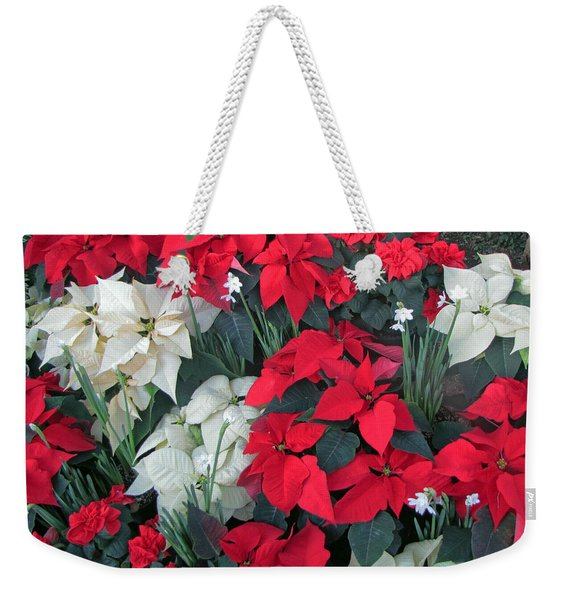 Red And White Poinsettias Weekender Tote Bag