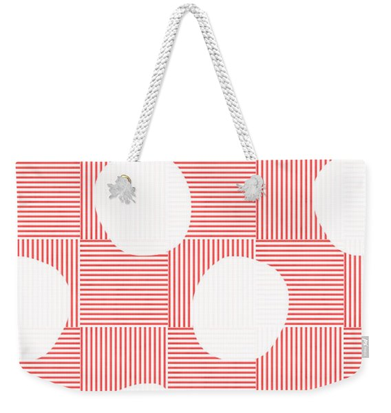 Red And White Poof  Weekender Tote Bag
