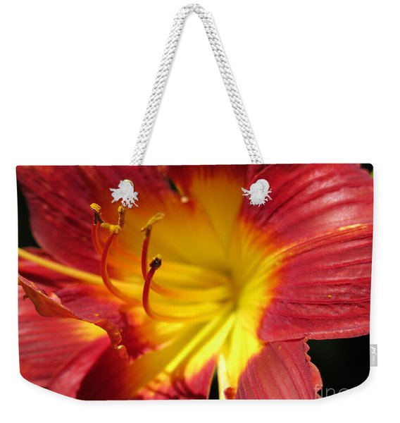 Red And Yellow Day Lily Weekender Tote Bag
