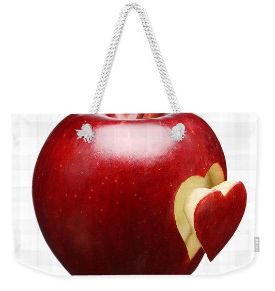 Red Apple With Heart Weekender Tote Bag
