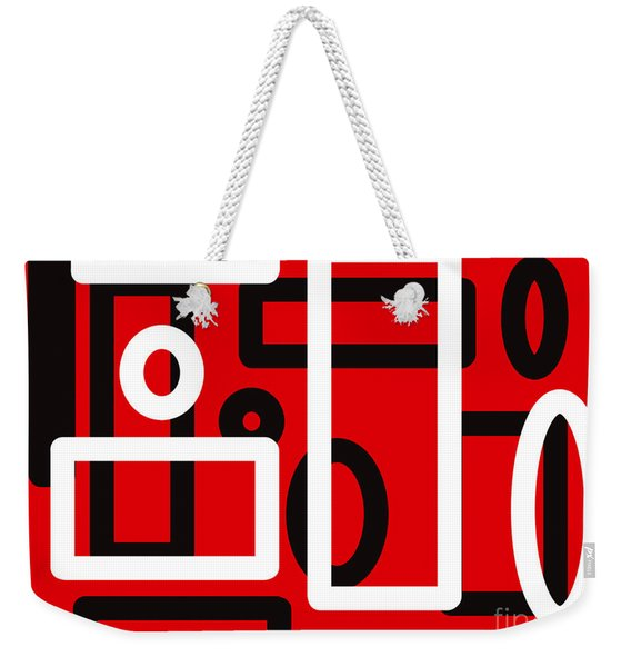 Red Back And White Design Weekender Tote Bag