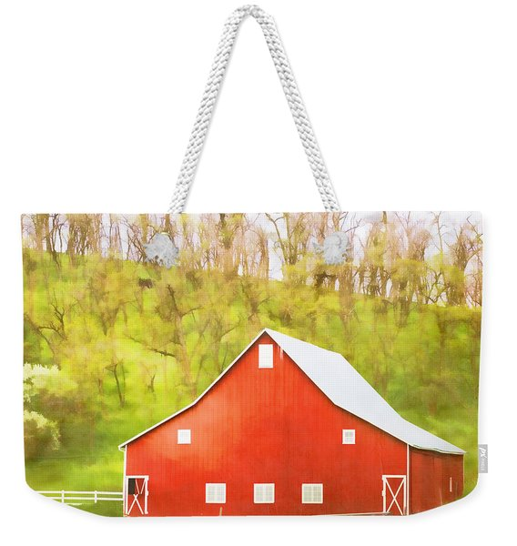 Red Barn Green Hillside Weekender Tote Bag