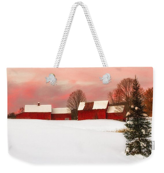 Red Barn Sunset Weekender Tote Bag
