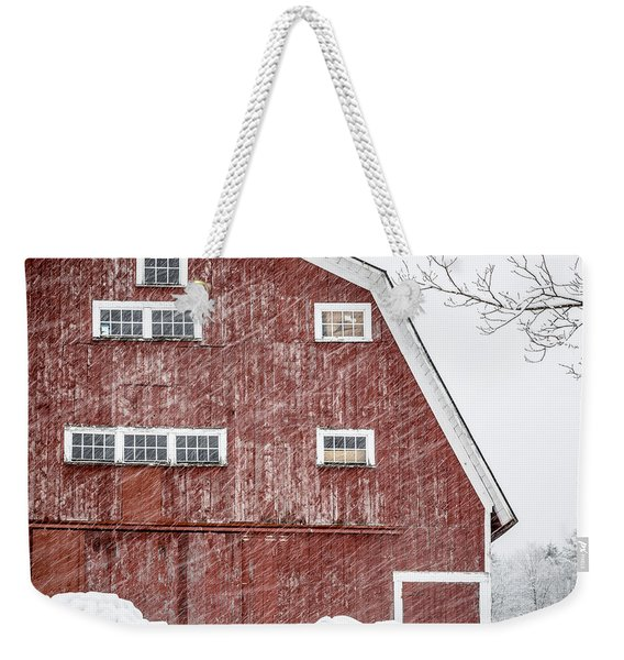 Red Barn Whiteout Weekender Tote Bag