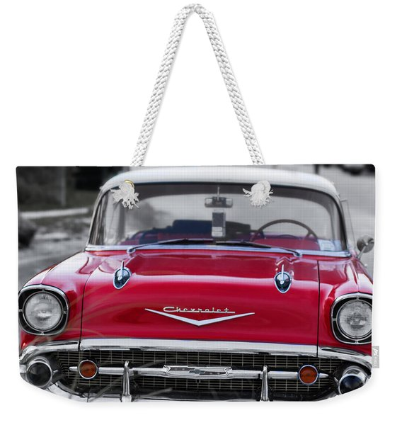 Red 57 Chevy Belair At The Beach Square Weekender Tote Bag
