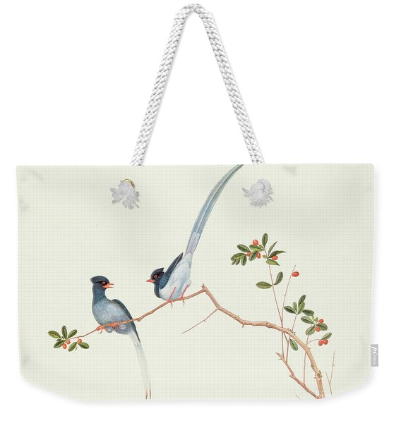 Red Billed Blue Magpies On A Branch With Red Berries Weekender Tote Bag