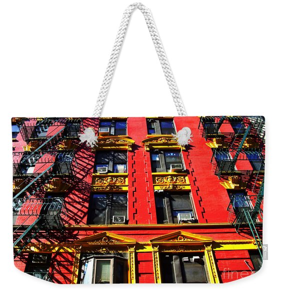 Red Building With Fire Escapes Weekender Tote Bag
