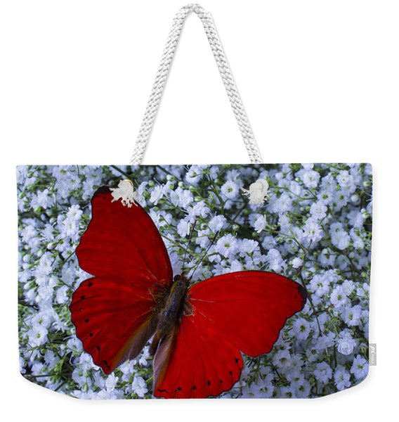 Red Butterfly And Baby's Breath Weekender Tote Bag