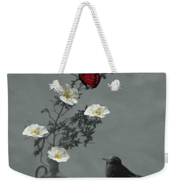Red Butterfly In The Eyes Of The Blackbird Weekender Tote Bag