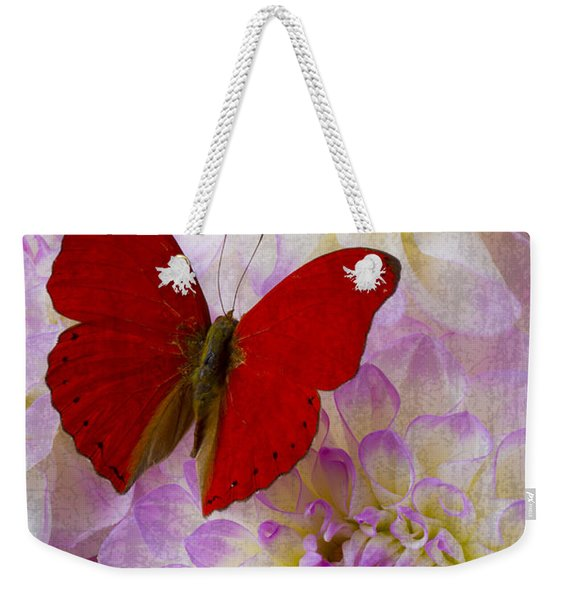 Red Butterfly On Dahlias Weekender Tote Bag