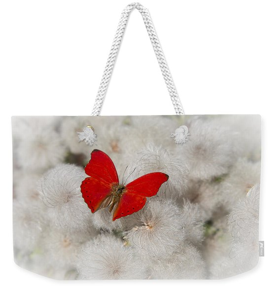 Red Butterfly On Flower Fluff Weekender Tote Bag