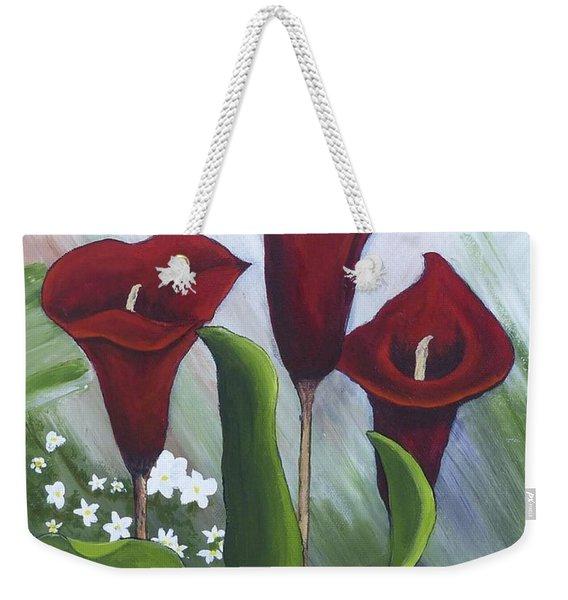 Red Calla Lilies Weekender Tote Bag