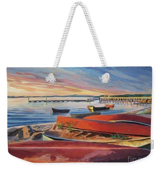 Red Canoe Sunset Weekender Tote Bag