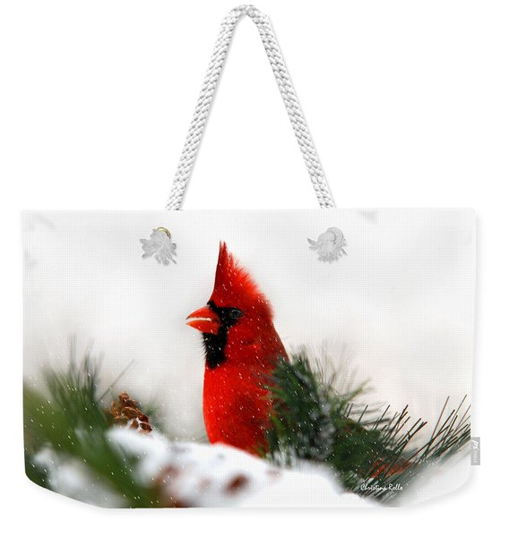 Red Cardinal Weekender Tote Bag