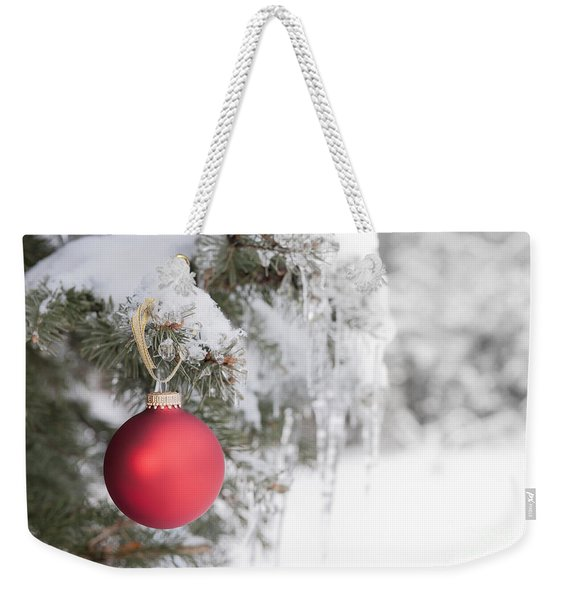 Red Christmas Ornament On Icy Tree Weekender Tote Bag