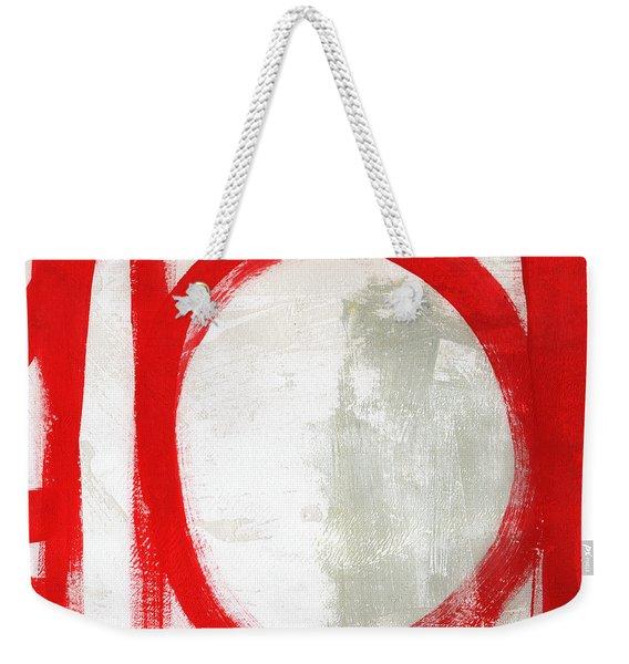Red Circle 3- Abstract Painting Weekender Tote Bag