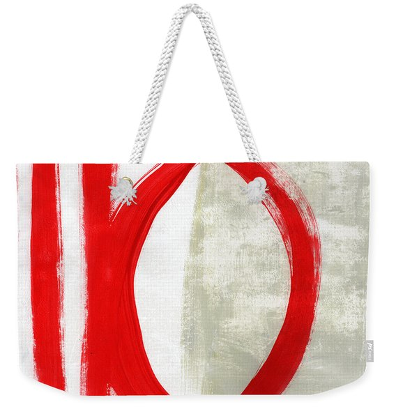 Red Circle 5- Abstract Painting Weekender Tote Bag